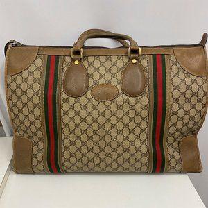 Gucci Travel Bag JUMBO Brown GG Logo Red Green